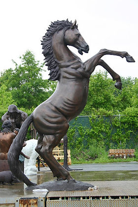 Giant Rearing Bronze Horse Statue from GlassArt.net