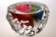 Leon Applebaum glass art, Textured Bowl