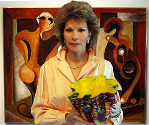 Ethel A. Furman holding Dale Chihuly Carnival Macchia Studio Edtion