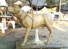 Dog high heat investment mold in bronze statue lost-wax process