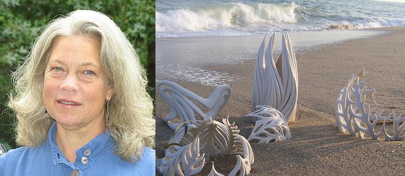 Jennifer McCurdy Artist and sculptures on Martha's Vineyard beach sand