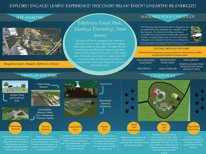 Edelman Fossil Park Site Plan by Cassie Shugart, Christina Chinnici, Meagan Schaefer, & Molly Jacoby