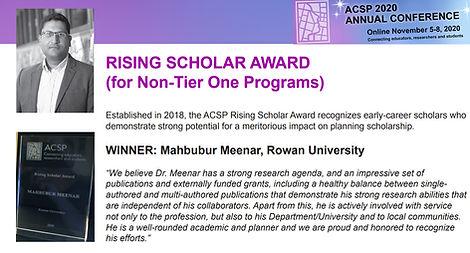 Meenar - ACSP rising scholar award 2020.