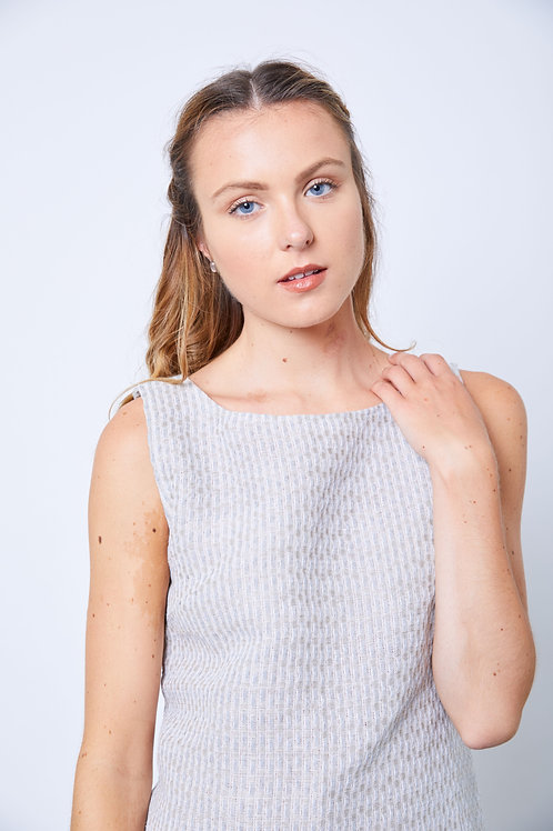 Recycled cotton and linen straight dress