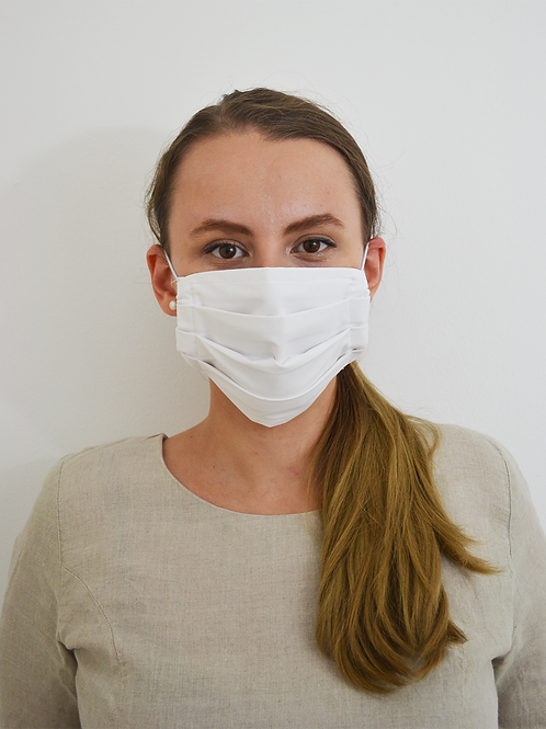 White Reusable Organic Cotton Face Mask