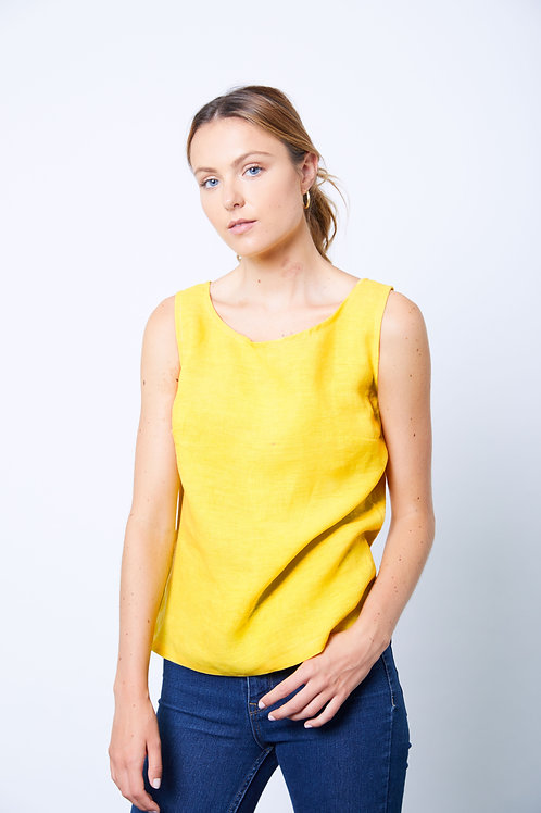 Turmeric dyed straight linen top