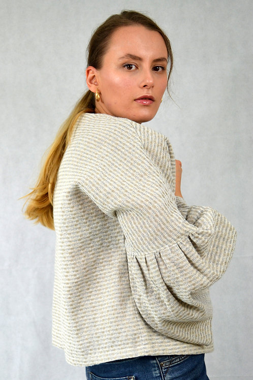 Linen and Recycled Cotton Bell Sleeve Top