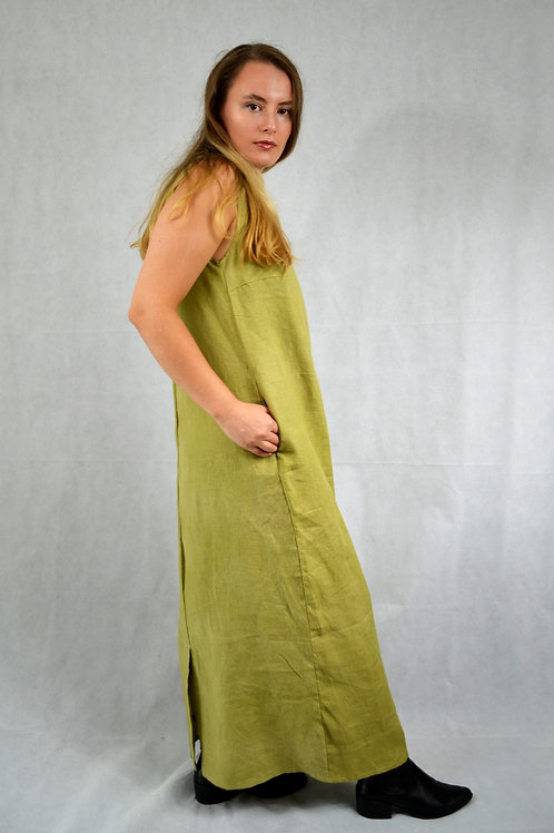 Long Boho Green Linen Dress
