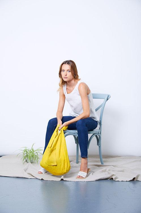 Turmeric dyed linen bag