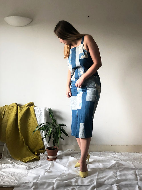 Denim up-cycled patchwork dress