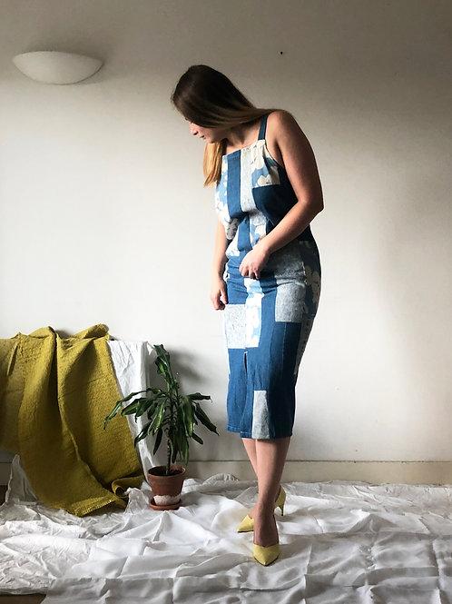 Denim up-cycled patchwork dress