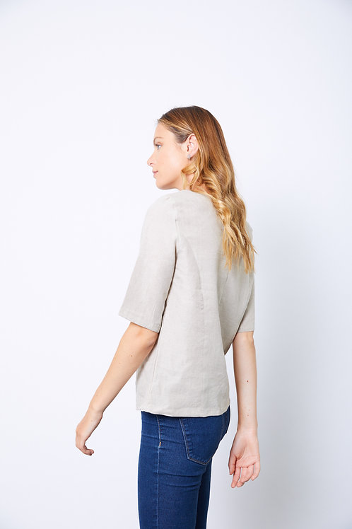 Natural linen structured top