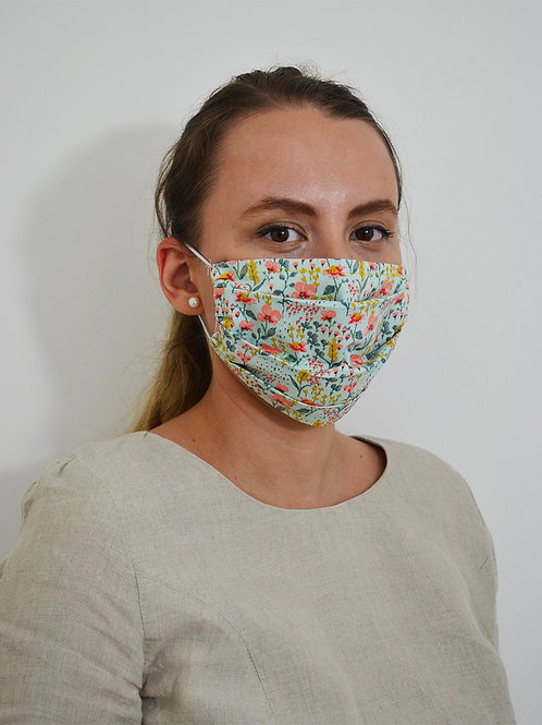 Floral Red&Teal Pleated Organic Cotton Face Mask