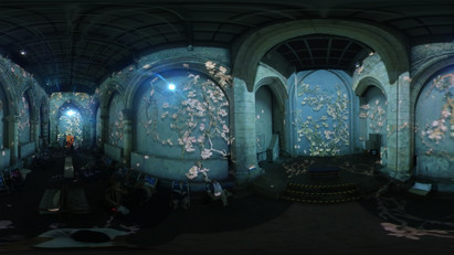 360 panoramic photo of inside St Mary's, Coppergate, York as part of the 2019 Van Gogh Exhibition