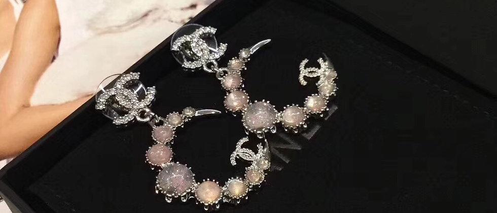 CHANEL Earrings Crystal 925Silver