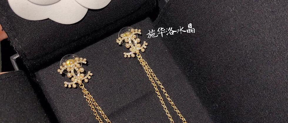 CHANEL Earrings Pearl 925Silver