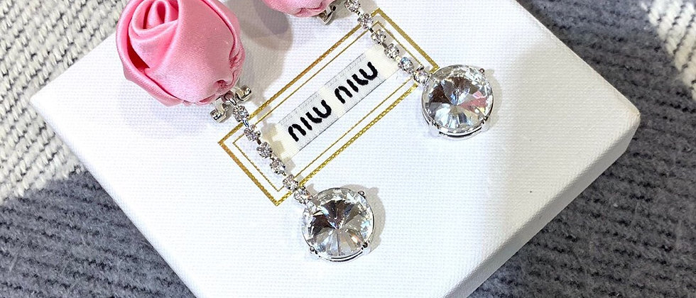 MIUMIU Earrings Crystal 925Silver