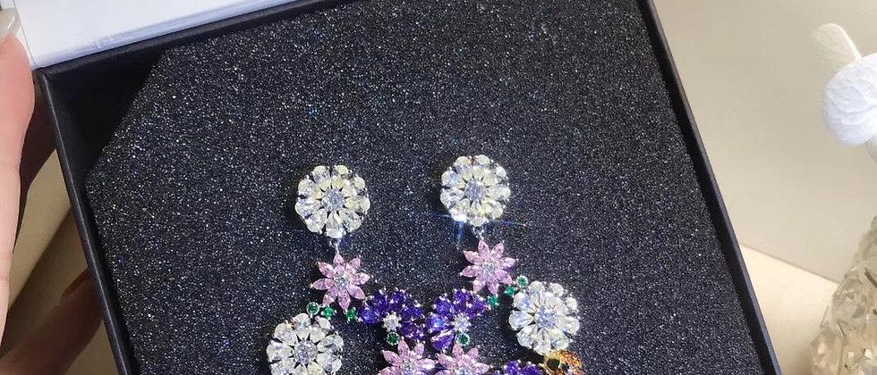 HEFANG Earrings Crystal Pt925