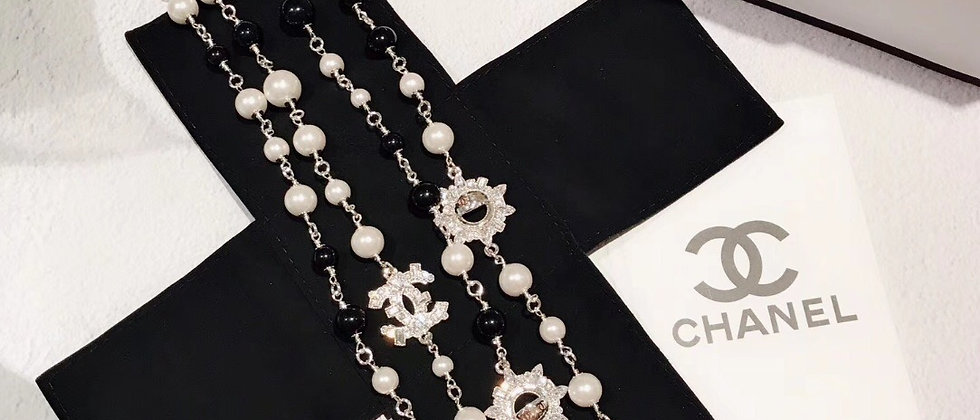 CHANEL Necklace Pearl Silver952
