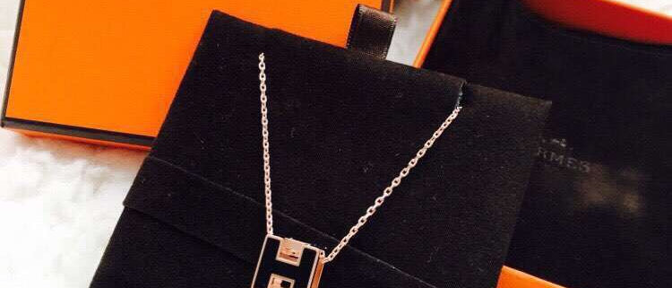 HERMES Necklace Crystal Silver952