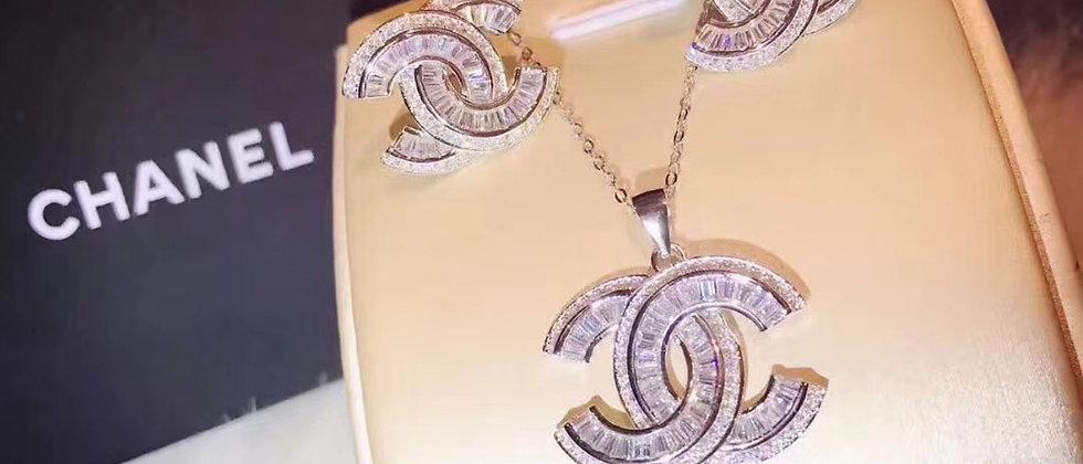 CHANEL Earrings Crystal Pt950