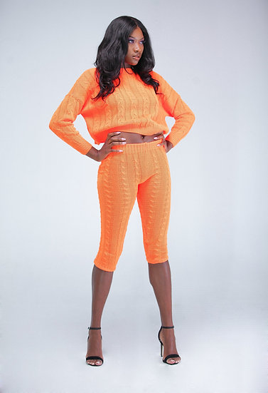 Caution-Neon Orange Knit Leggings and Jumper Loungewear Set