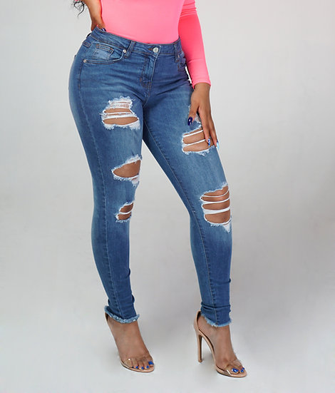 Frayed-Multi Rip Mid Rise Skinny Jeans