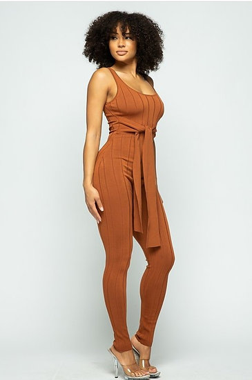 All Tied Up- Jumpsuit- Rust