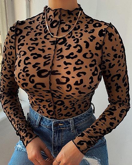 Printed- Leopard Long Sleeve Top
