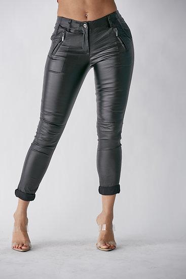 Charcoal Black Faux Leather Pants