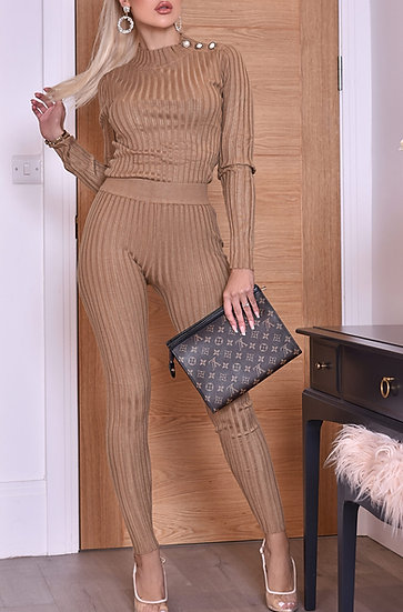 Fall In Line- Ribbed Button Detail Two Piece Set- Mocha