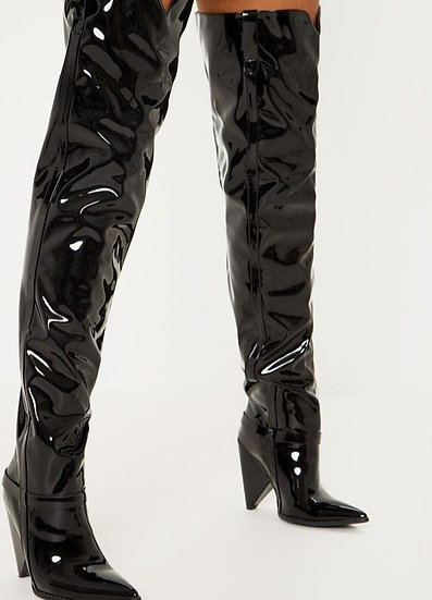 Black - Vegan Leather Over the Knee Boots