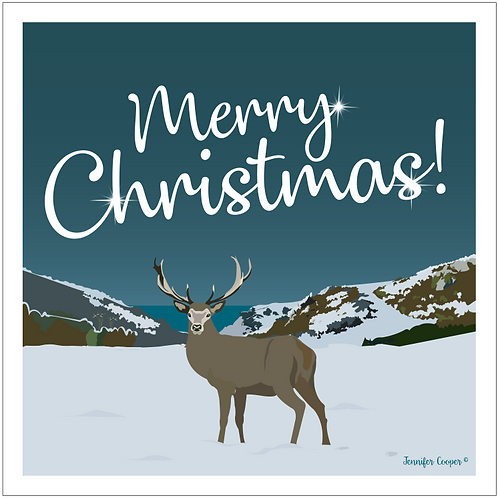 Devon stag Christmas cards (Pack of 5)