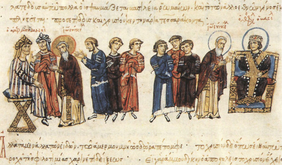 The Byzantine embassy of John the Grammarian in 829 to Ma'mun (left) from Theophilos (right)© Wiki-Commons