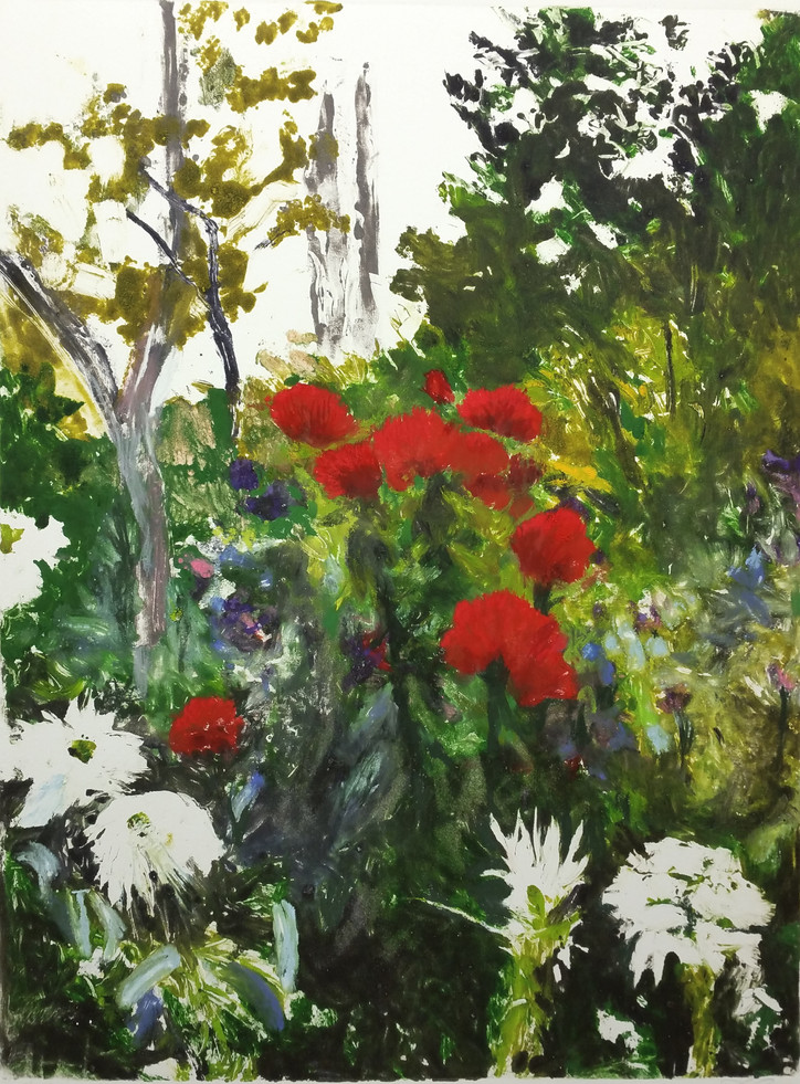Red and White Dahlias, Giverny