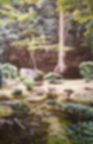 Kyoto Garden, 36 x 24 in., Oil stick on