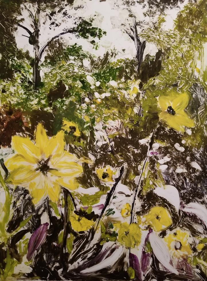 Yellow Dahliahs, Giverny