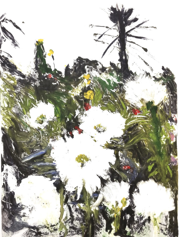 White Dahlias, Giverny - SOLD