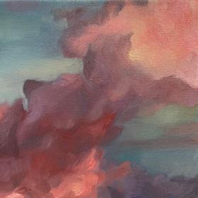 Nubes, 2021, óleo sobre tela, 20 x 20 cm