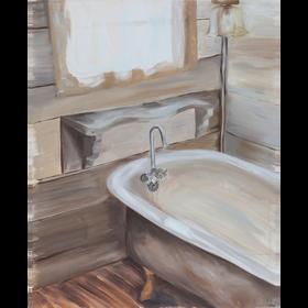 La bañadera, 2020, óleo sobre tela, 100 x 70 cm