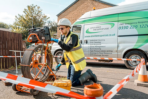 A drainage engineer from Enviro Response is conducting a CCTV Drain Survey.