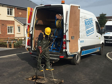 Rider Industrial Services carrying-out extensive drain cleaning with high pressure water jetting from a van pack unit.