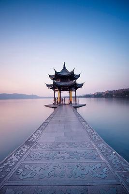 MJFC in Hangzhou China pagoda on water