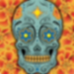 [An image of a gray-blue, yellow & orange calavera against a background of marigold flowers.]
