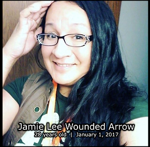 [Text: Jamie Lee Wounded Arrow. 28 years old. January 1, 2017.]