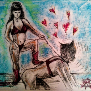 Mistress and Pup From The ArtGasmica series By Salena Angel