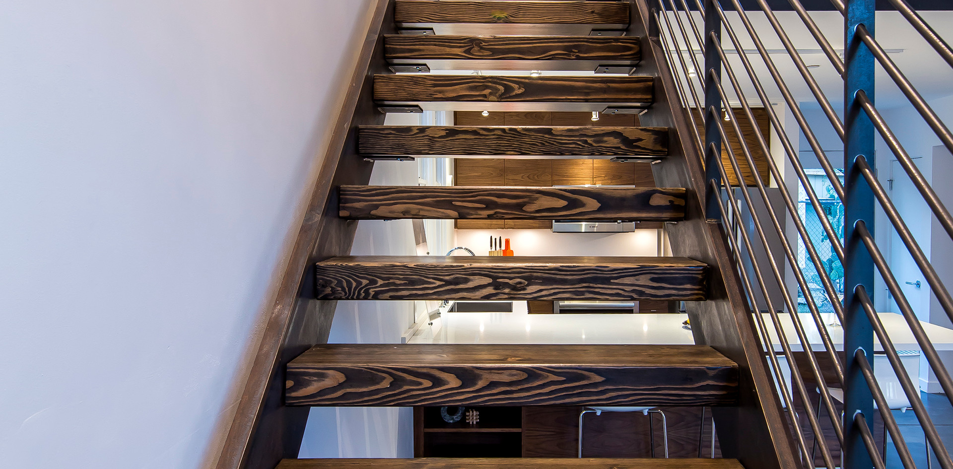 Custom wood & steel stair case