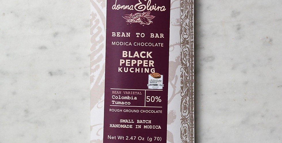 KUCHING BLACK PEPPER 50% Modica Chocolate bar