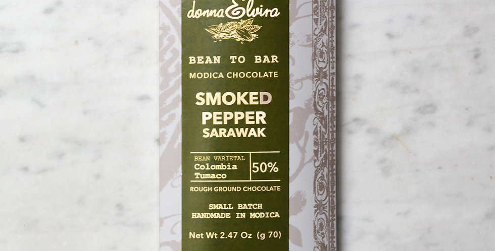 SMOKED BLACK PEPPER 50% Modica Chocolate bar