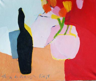 Fles met tulpen